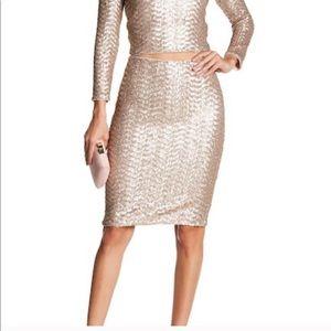 Alice + Olivia Ramos Rose Gold Sequin Midi Skirt